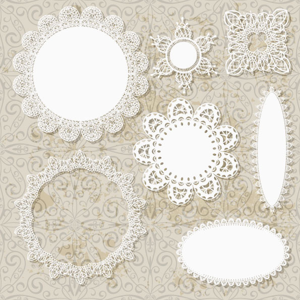 595x595 Hollow Floral Ornaments And Lace Vector Free Vector In Adobe