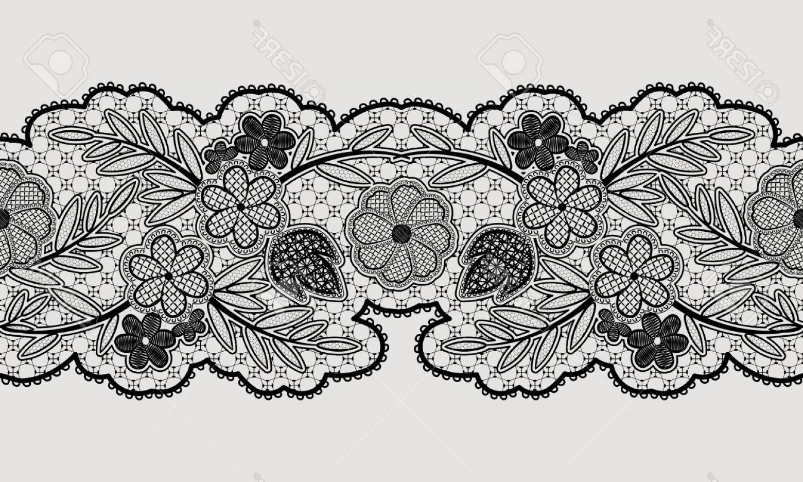 1560x936 Photostock Vector Seamless Floral Lace Ribbon For Your Design