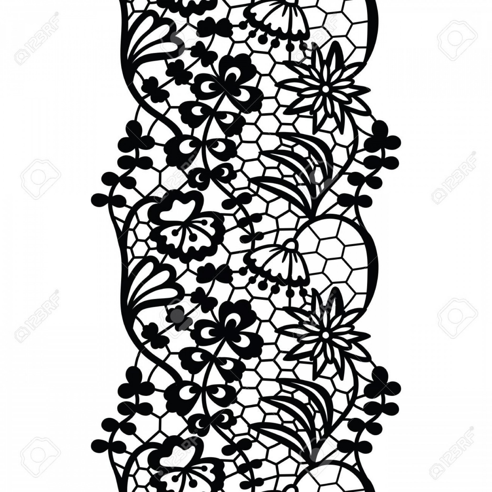 1872x1872 Photostock Vector Vintage Lack Lace Trim With Scalloped Edges And