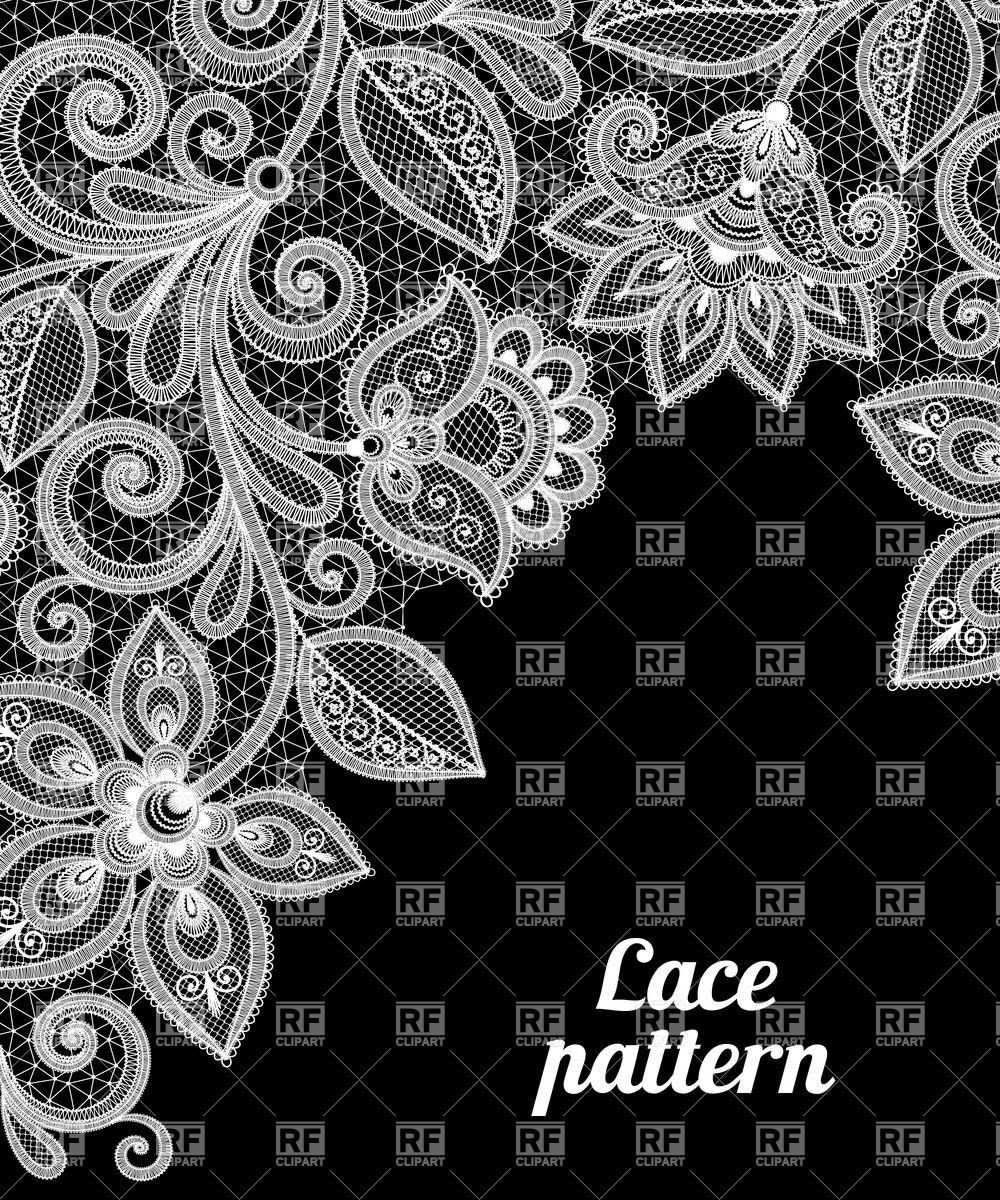 1000x1200 White Lace Floral Border On Black Background Vector Image Vector