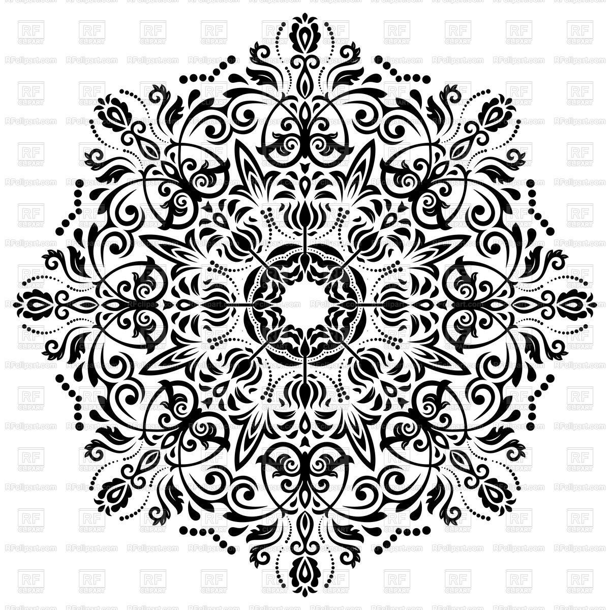 1200x1200 Damask Black Floral Lace Vector Image Vector Artwork Of