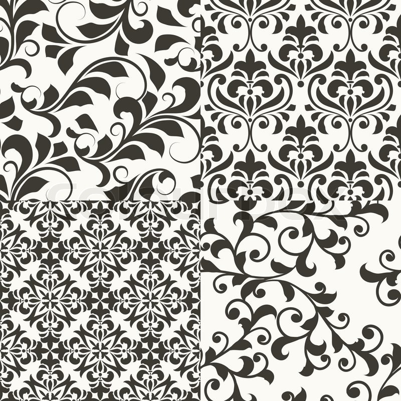800x800 4 Vector Seamless Vintage Floral Patterns, Fully Editable Eps 8