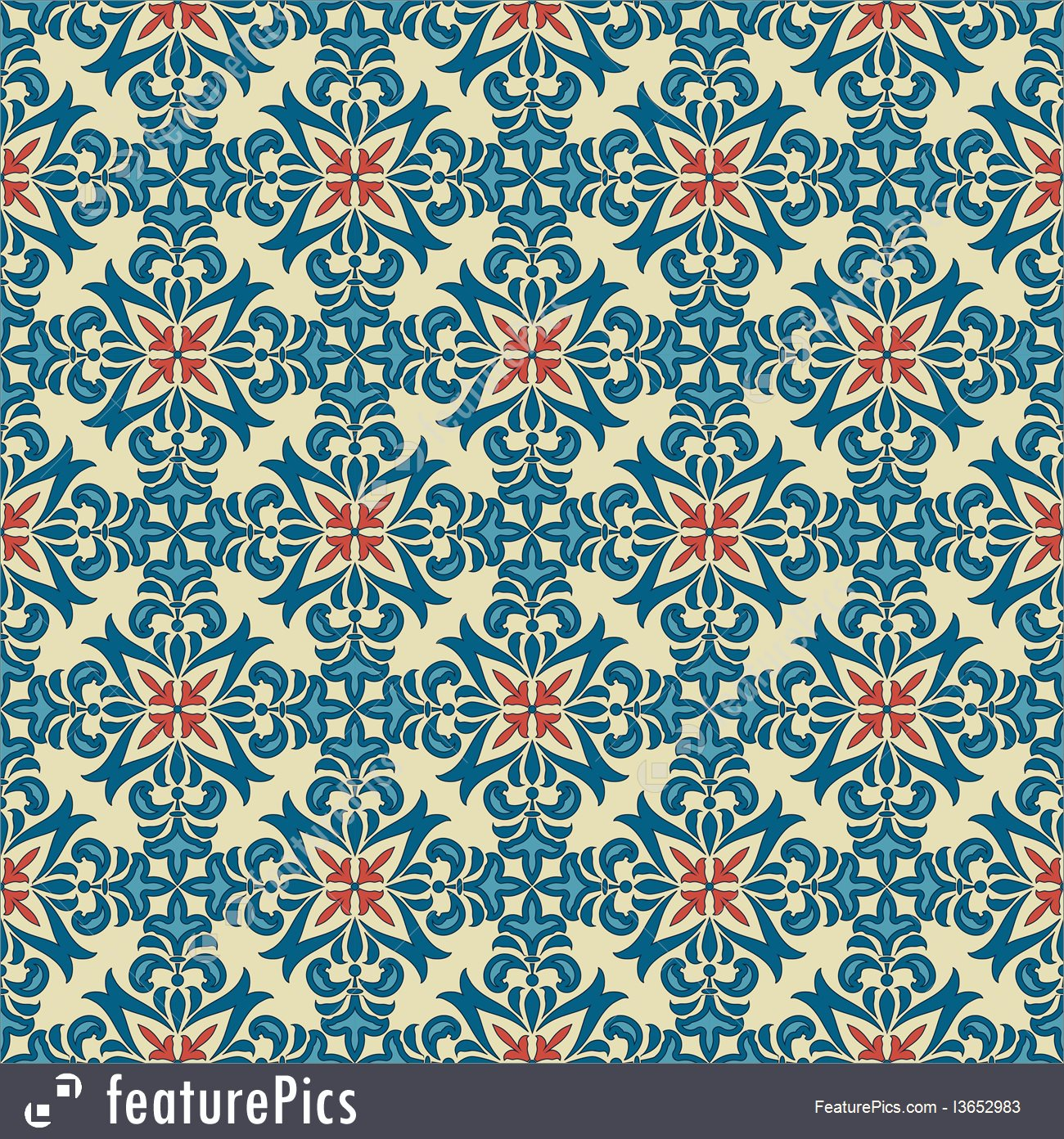 1300x1392 Vector Seamless Vintage Floral Pattern