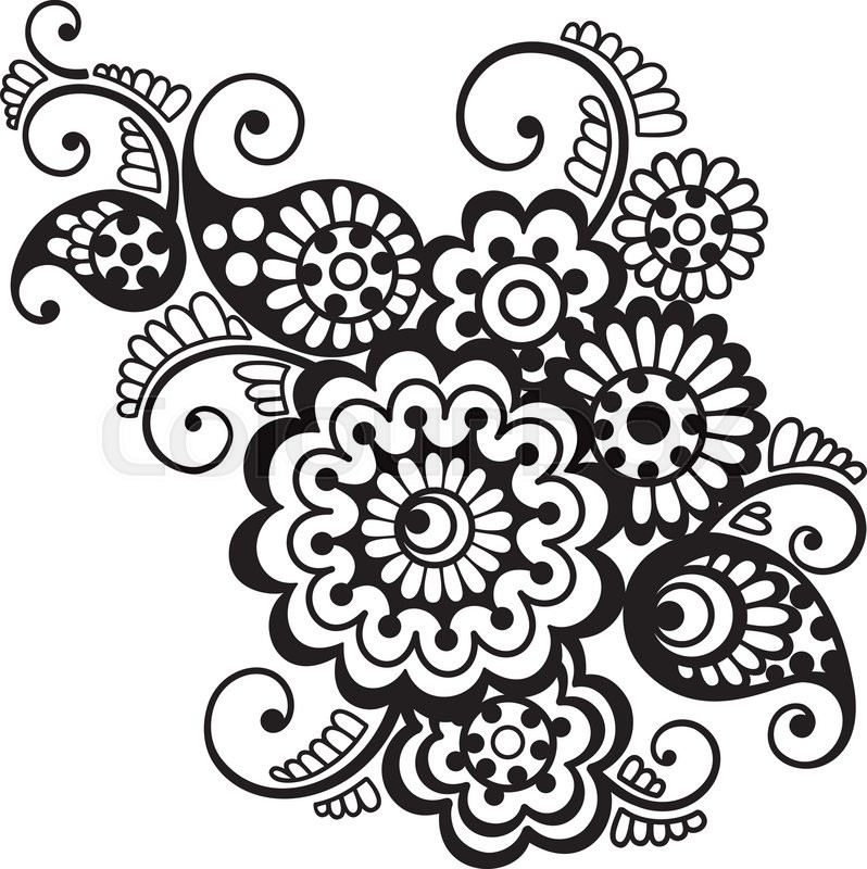 798x800 Vector Floral Pattern Element, Indian Ornament, Henna Style
