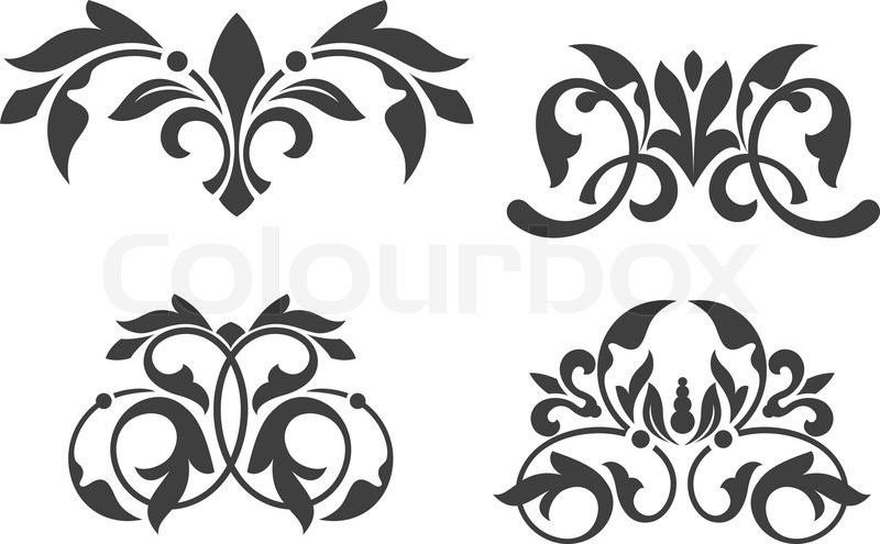 800x495 Antique Vintage Floral Patterns Isolated On White Stock Vector