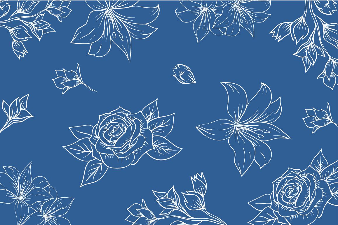 1158x772 Lineart Floral Pattern Vector