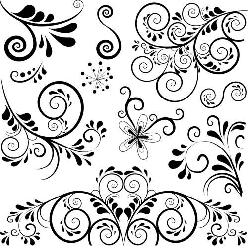 500x497 Black Floral Ornament Pattern Vector Free Download