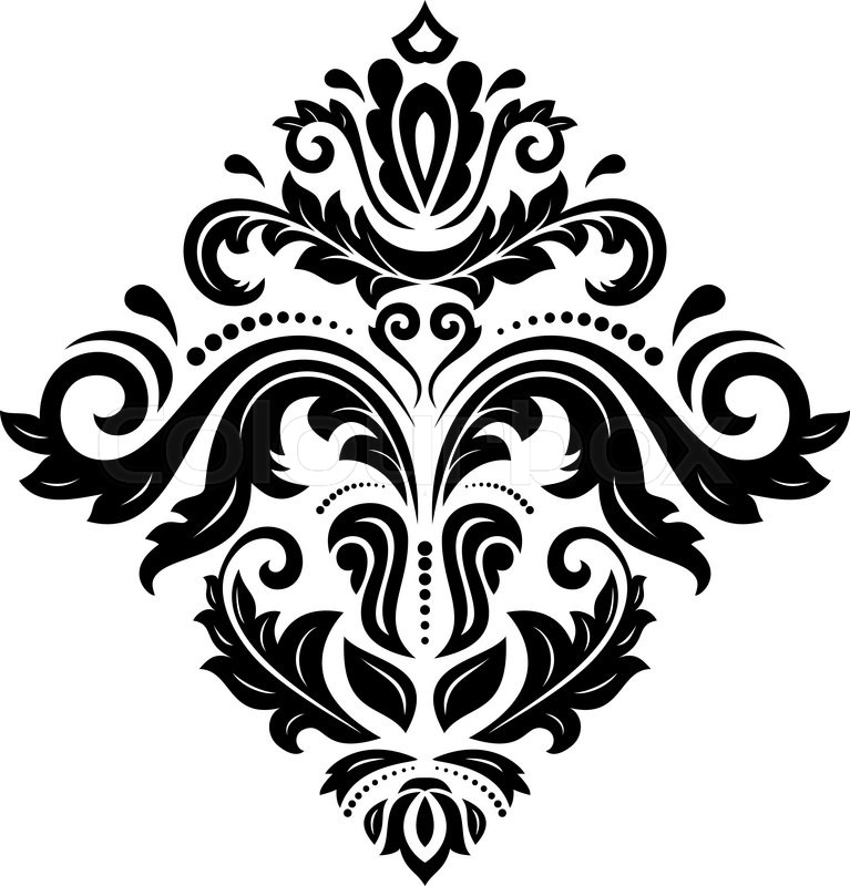 767x800 Damask Vector Floral Pattern With Arabesque And Oriental Elements