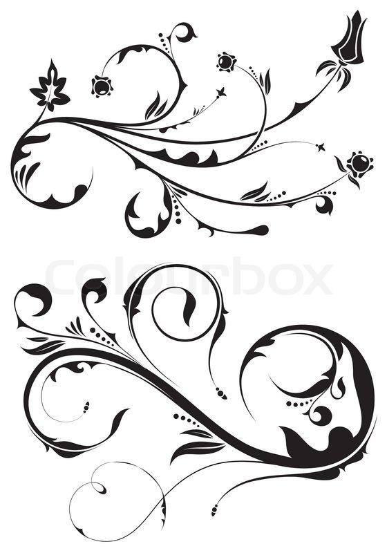560x800 Floral Scroll, Element For Design, Vector Illustration Stock