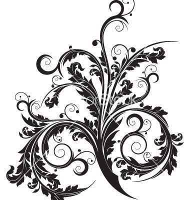 380x400 Floral Scroll Vector Inked. Floral, Flourish And