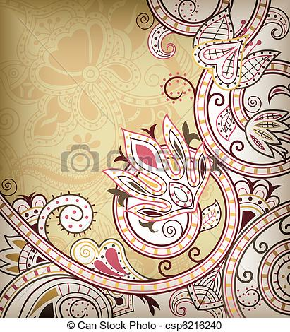 411x470 Floral Scroll. Illustration Of Abstract Swirly Floral Background.