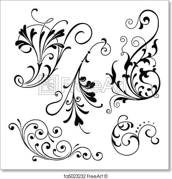 561x581 Free Art Print Of Floral Scrolls. Vector Floral Scroll Ornaments