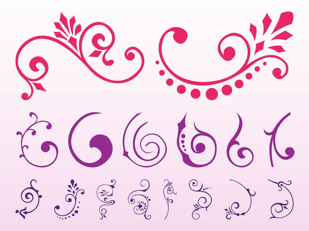 1024x765 Images Of Floral Scrolls Graphics Set