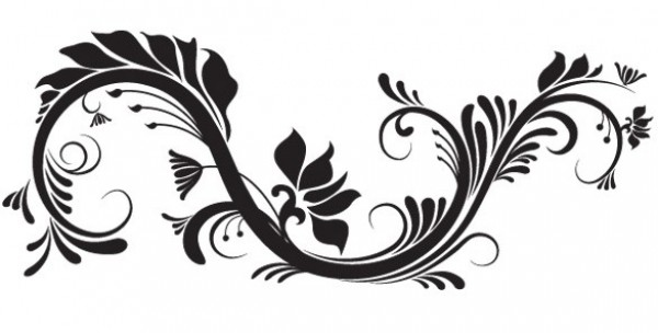 600x304 Lovely Scroll Floral Vector Element