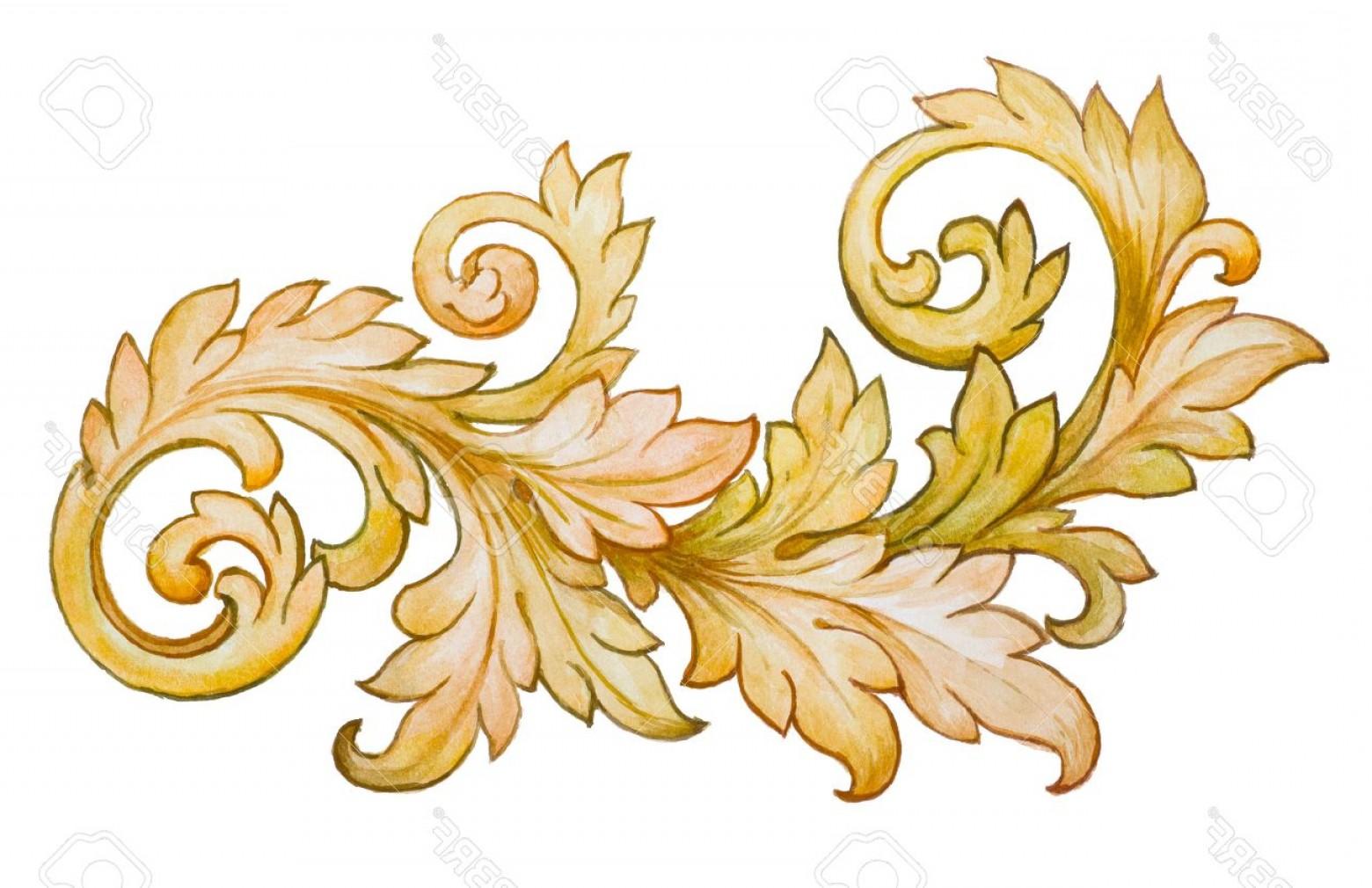 1560x1010 Photostock Vector Vintage Baroque Floral Scroll Foliage Ornament