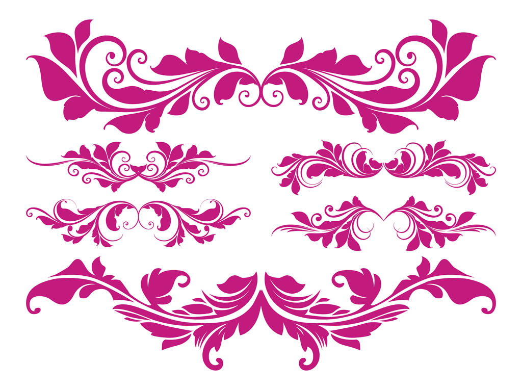 1024x765 Retro Flower Scrolls Vector Art Amp Graphics