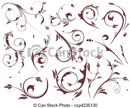 450x372 Set Floral Element. Collect Floral Scroll, Element For... Vector