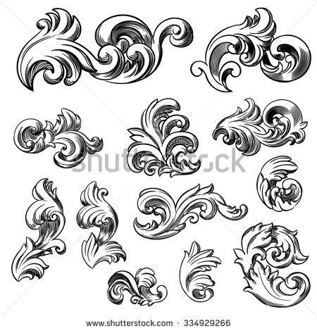 450x470 Set Of Vector Vintage Baroque Engraving Floral Scroll Filigree