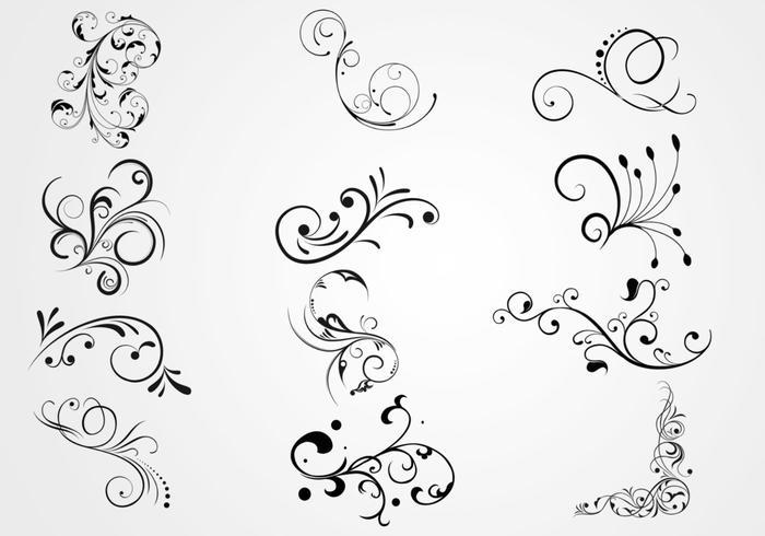 700x490 Swirly Floral Scrolls Vectors