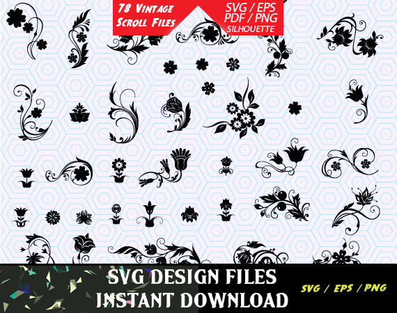 570x450 78 Vintage Floral Scroll Files Used For Vinyl Cutting And