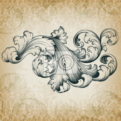 400x400 Vector Vintage Baroque Floral Scroll Pattern Wall Mural Carving
