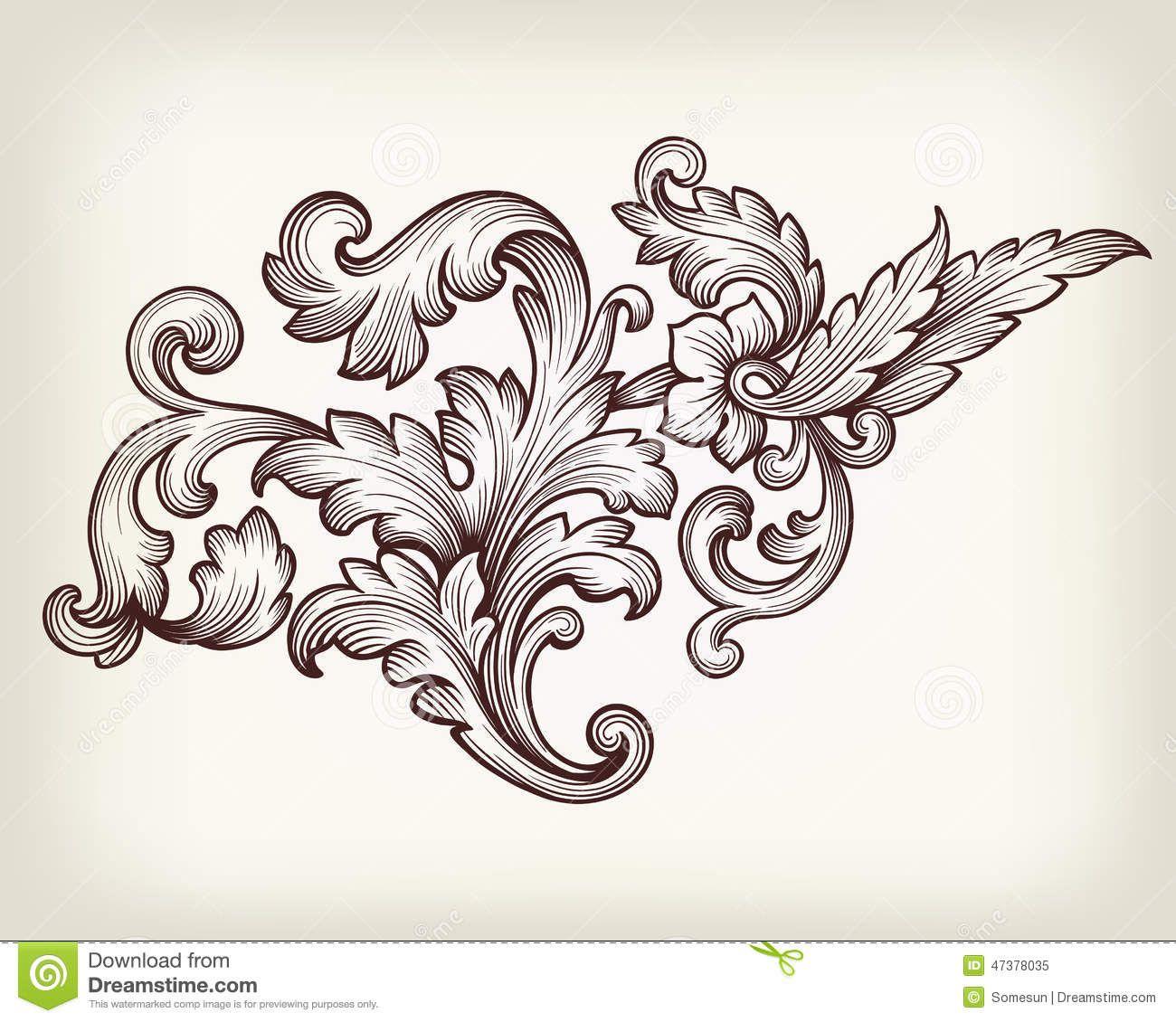 1300x1130 Vintage Baroque Floral Scroll Ornament Vector