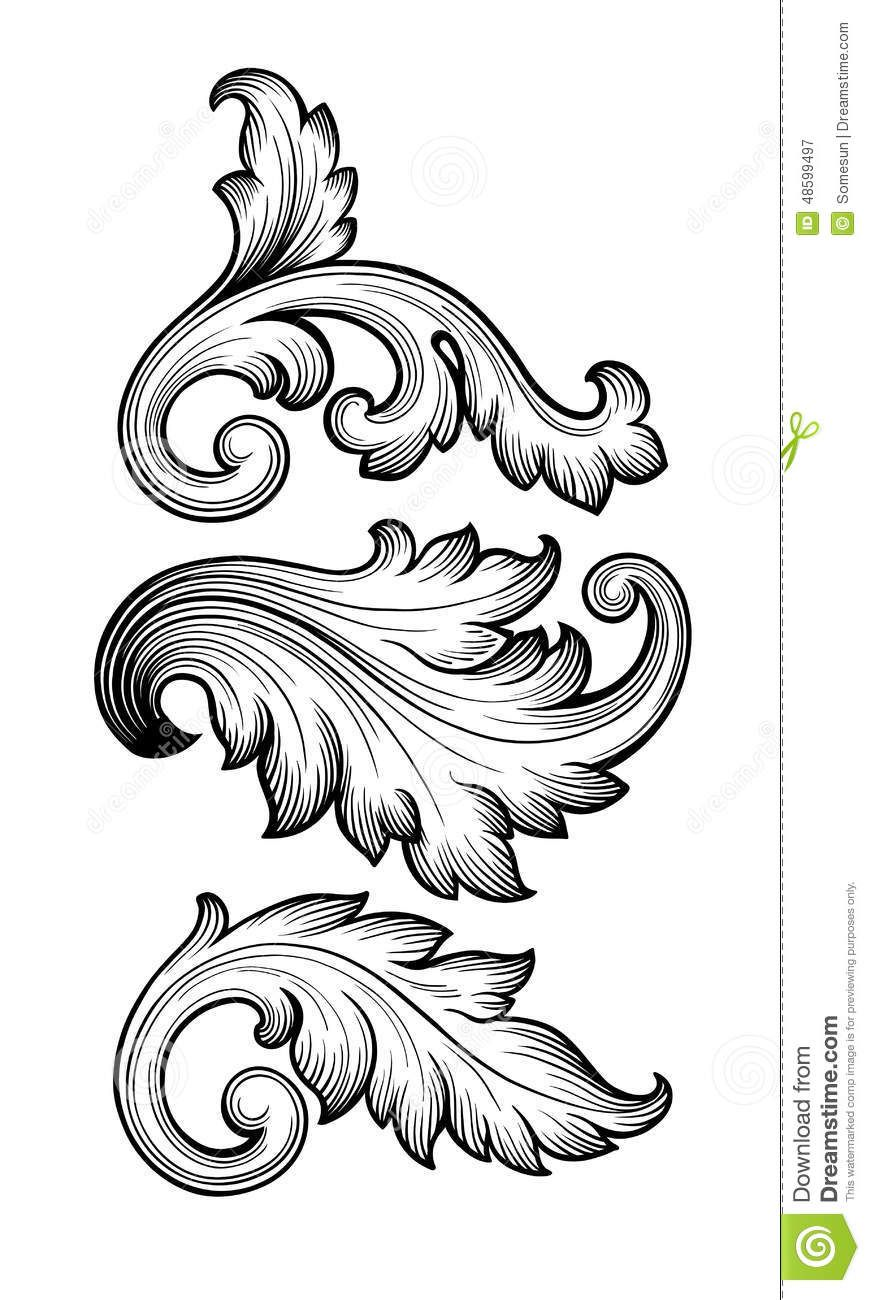 870x1300 Vintage Baroque Floral Scroll Set Ornament Vector
