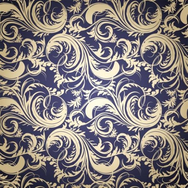 600x602 Vintage Vector Floral Scroll Pattern Background