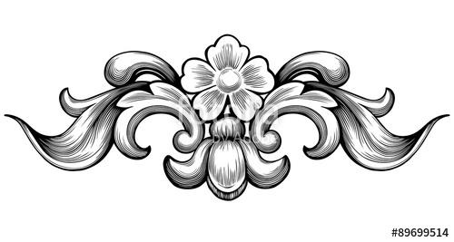 500x267 Vintage Baroque Floral Scroll Foliage Ornament Filigree Engraving