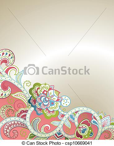 367x470 Abstract Floral Scroll. Illustration Of Abstract Floral Background
