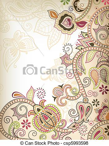 351x470 Abstract Floral Scroll. Illustration Of Abstract Floral Background.