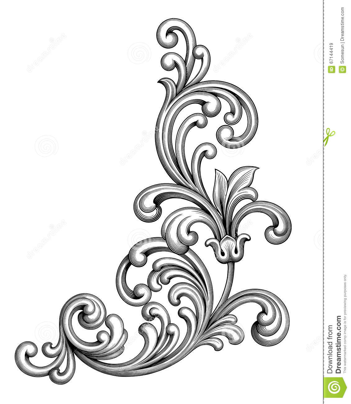 1130x1300 Classic Clipart Floral Scroll