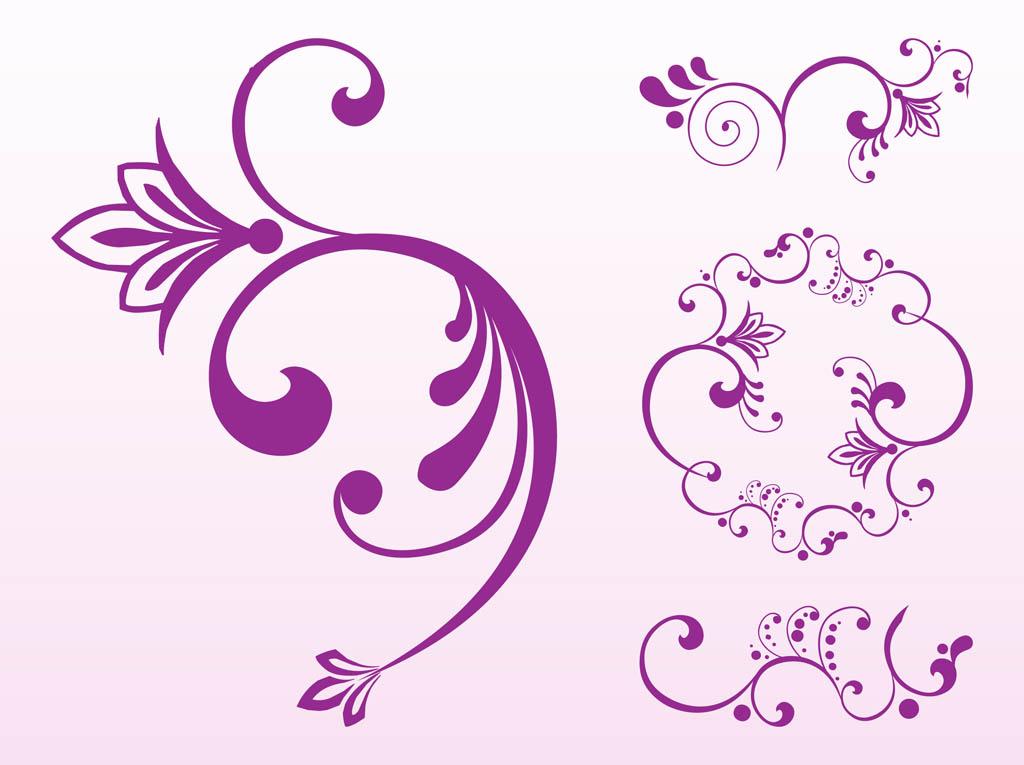 1024x765 Floral Scroll Set Free Vectors Ui Download