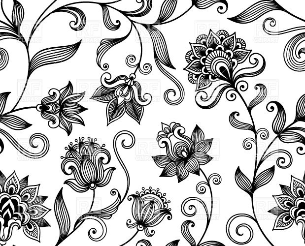 619x500 Graphic Floral Background With Black Ornamental Flowers