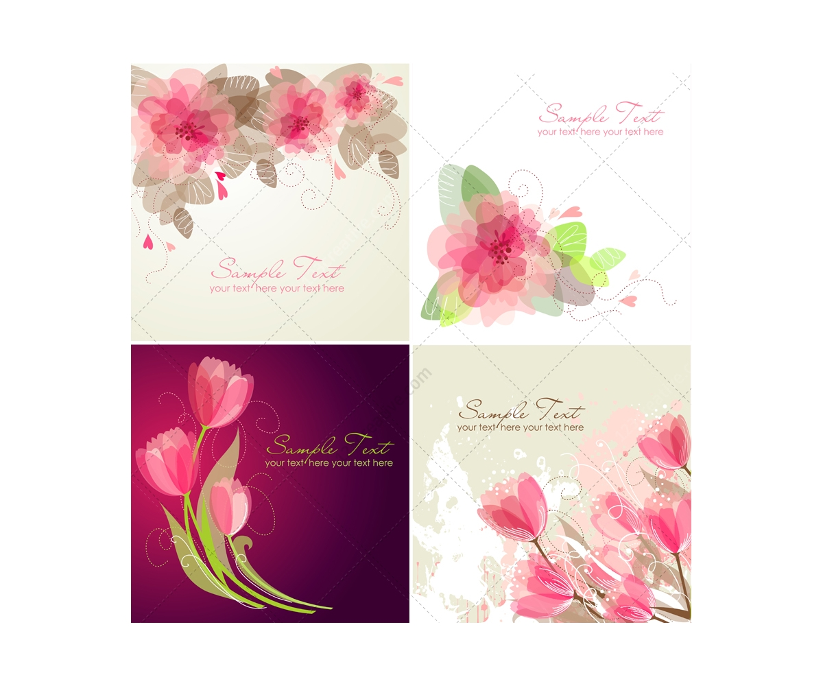 1200x1000 Vector Greeting Cards With Flowers
