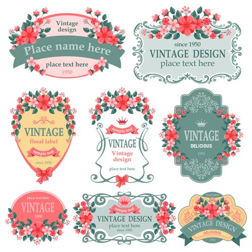 500x500 Vintage Floral Labels Vector Graphics Free Download