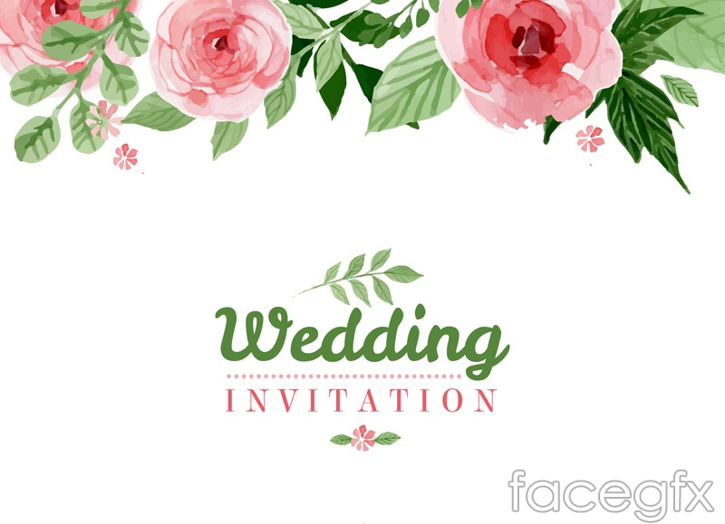 800x579 Watercolor Floral Wedding Invitation Poster Vector Graphics Over