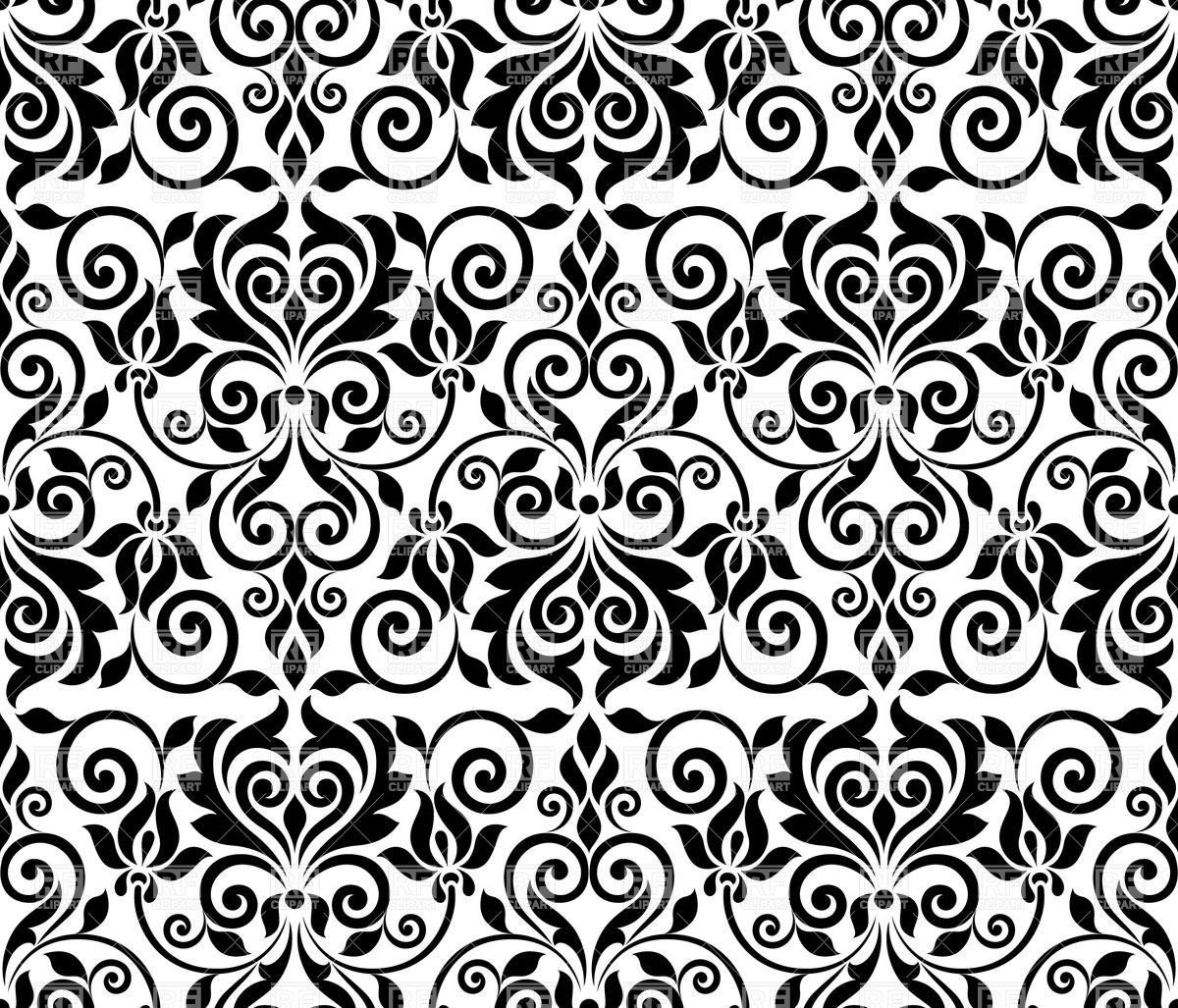 1200x1027 Black Floral Graphic Seamless Ornament Vector Image Vector