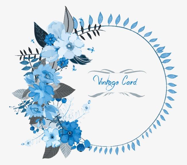 650x572 Blue Floral Vector Border, Blue, Vector Border, Flower Border Png