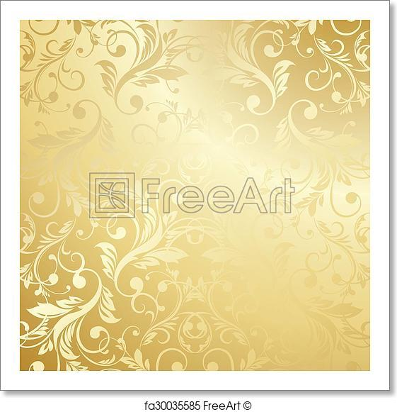 561x581 Free Art Print Of Luxury Golden Floral Wallpaper. Luxury Golden