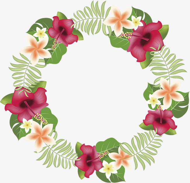 650x627 Romantic Tropical Flower Wreath, Flower Vector, Wreath Vector