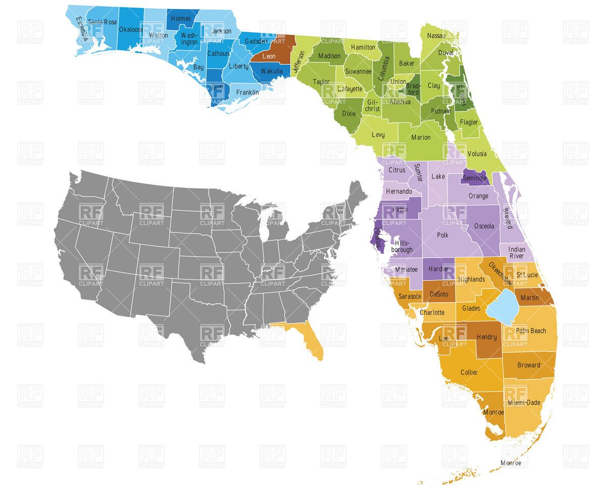 Florida County Map Vector At Free For Personal Use Circuit Ai Pdf Graphics Download 1200x982 State Counties With Boundaries And Names Image