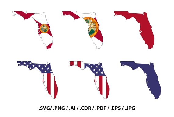 570x385 Florida State Map With Flag Outline Florida Flag State Etsy