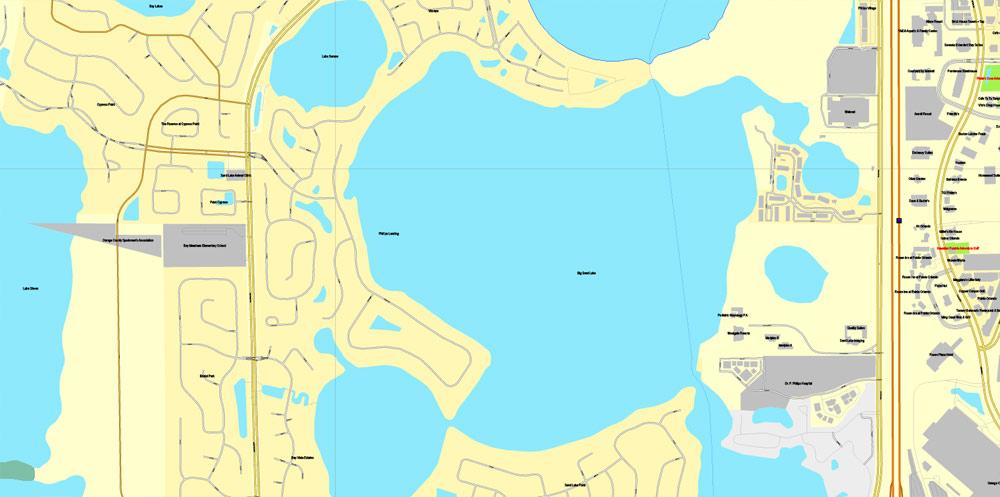 1000x497 Orlando, Florida, Exact Printable Vector Street City Plan Map V.3
