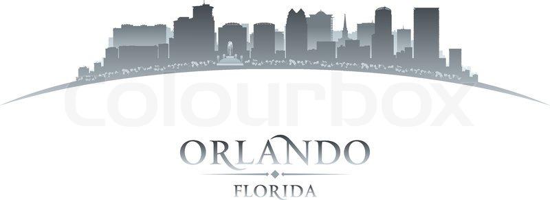 800x292 Orlando Florida City Skyline Silhouette. Vector Illustration