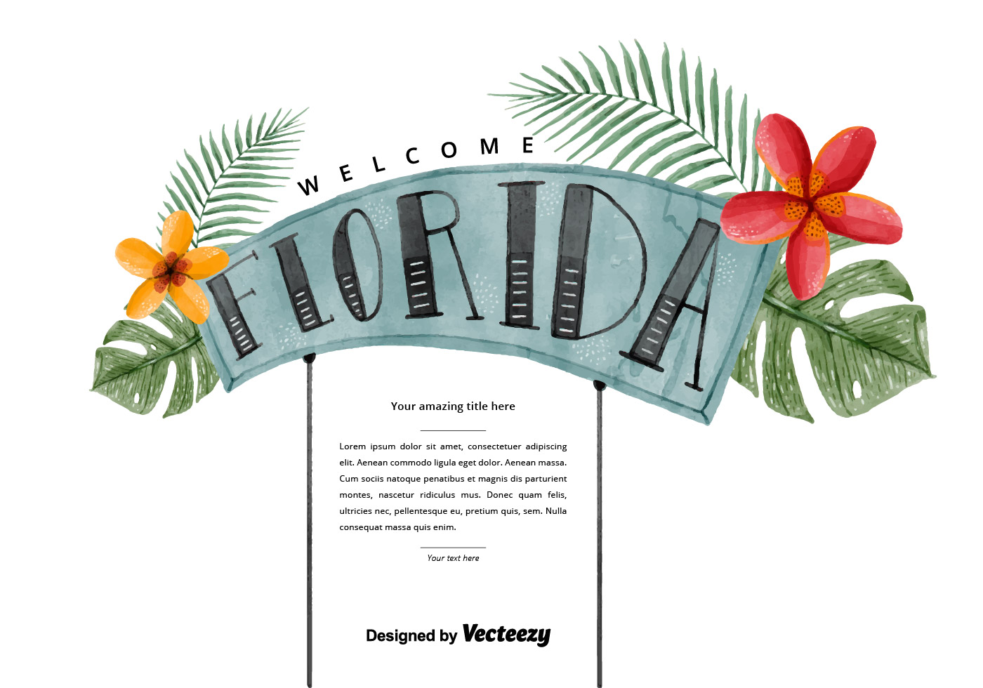 1400x980 Free Florida Welcome Watercolor Vector