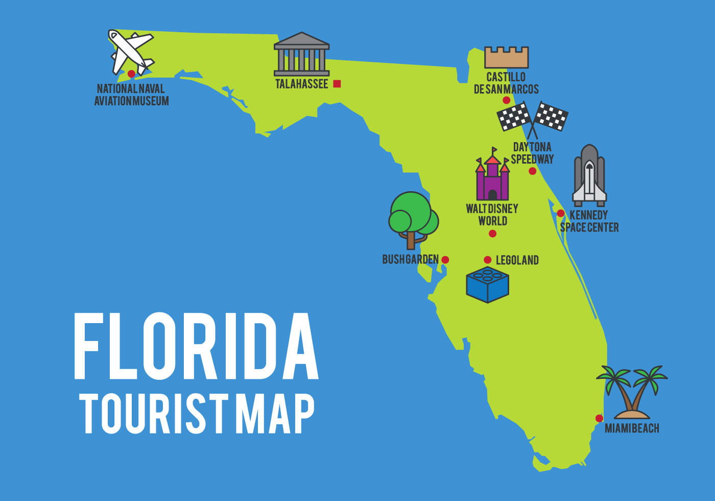1400x980 Cartoon Map Of Florida State Download Free Vector Art Stock At