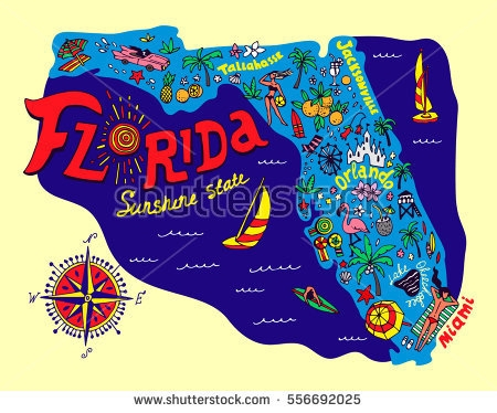 450x374 Cartoon Map Of Florida State Download Free Vector Art Stock Map Of