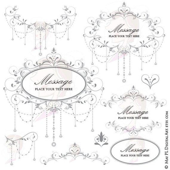 570x570 Elegant Wedding Diy Invitations Digital Frame Chandelier Etsy