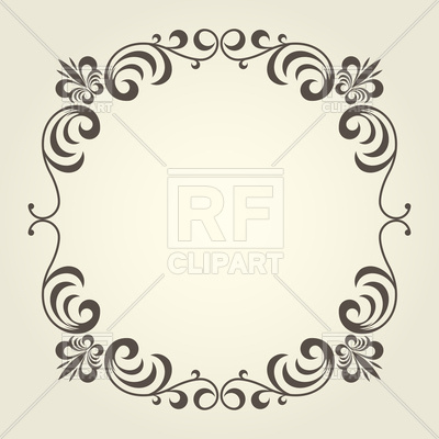 400x400 Flourish Square Frame With Ornate Curly Borders Vector Image